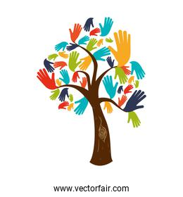 tree hand finger gesture palm icon. Vector graphic