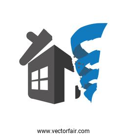 twister house home insurance accident protection icon. Vector gr