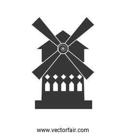 wind mill house building france icon. Vector graphic