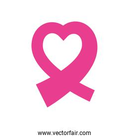 ribbon hope breast cancer pink icon. Vector graphic