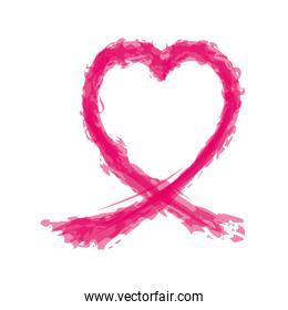 ribbon splash hope breast cancer pink icon. Vector graphic