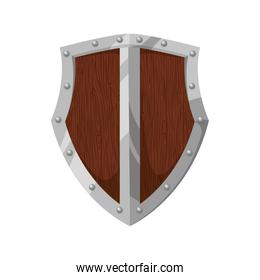shield wood badge protection label security icon. Vector graphic