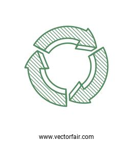 arrow recycle circle organic ecology icon. Vector graphic