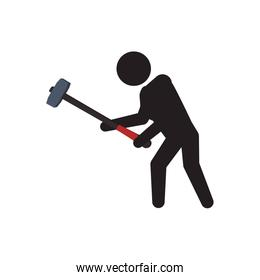 pictogram hammer crossfit fitness gym sport icon. Vector graphic