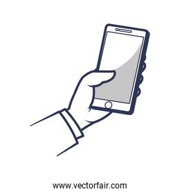 smartphone hand mobile gadget technology icon. Vector graphic