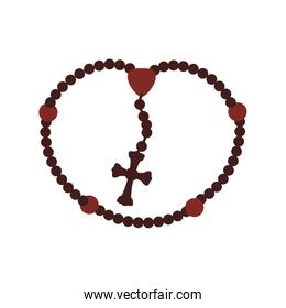 rosary nacklace cross religion icon. Vector graphic