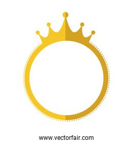 seal stamp crown gold label banner icon. Vector graphic