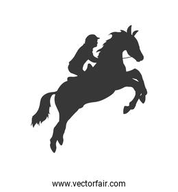 horse animal ridding silhouette sport hobby icon. Vector graphic