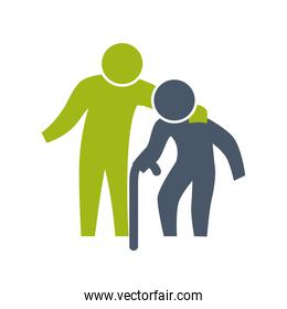 grandfather old pictogram action male man silhouette design. Vector