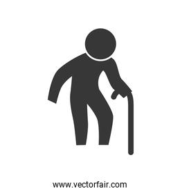 grandfather old pictogram action male man silhouette icon. Vecto