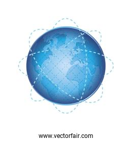 planet sphere global earth communication icon. Vector graphic
