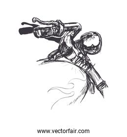 motorcycle sketch transportation flame icon.  Vector graphic