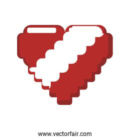 heart pixel video game play icon. Vector graphic