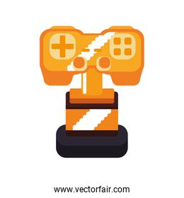 trophy control pixel video game play icon. Vector graphic