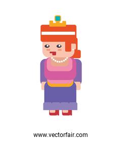 princess girl pixel video game play icon. Vector graphic