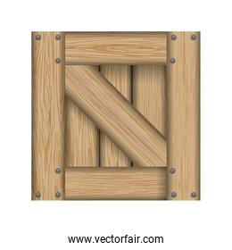 Wood material box square icon. Vector graphic