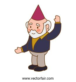 grandfather party hat old person man male icon. Vector graphic