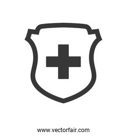 Cross shield medical health care icon. Vector graphic