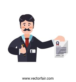Insurance document man pen health care icon. Vector graphic