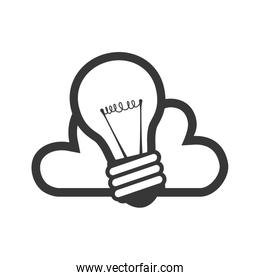 Light bulb cloud idea silhouette icon. Vector graphic