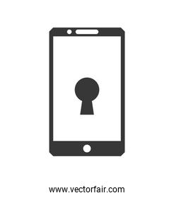 Padlock smartphone security system protection icon. Vector graph