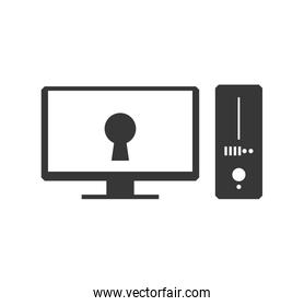 Padlock computer security system protection icon. Vector graphic