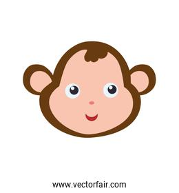 Monkey cute animal little icon. Vector graphic