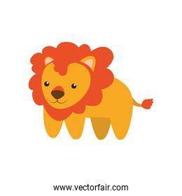 Lion cute animal little icon. Vector graphic