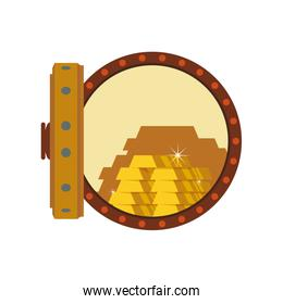 Gold bar block strongbox treasure icon. Vector graphic