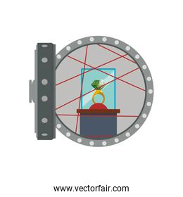 Strongbox ring security money financial item icon. Vector graphi