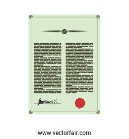 Document information text seal icon. Vector graphic