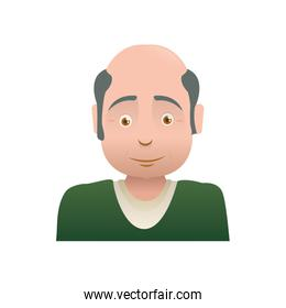 Grandfather male man hair grey icon. Vector graphic