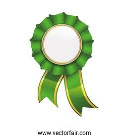 Seal stamp green label ribbon banner icon. Vector graphic
