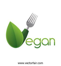 fork leaf green vegan organic icon. Vector graphic
