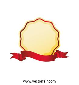 ribbon seal stamp label red icon. Vector graphic