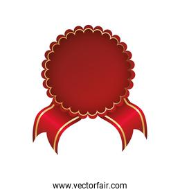 seal stamp red ribbon label icon. Vector graphic