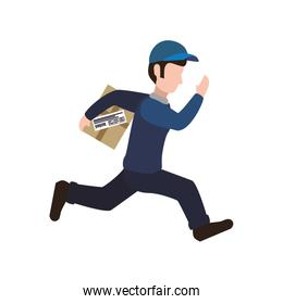 delivery man package shipping logistic icon. Vector graphic