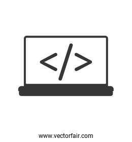 website laptop code technology internet icon. Vector graphic