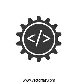 website gear code technology internet icon. Vector graphic