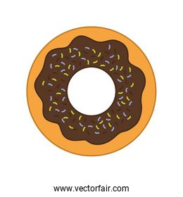 donut dessert cute sweet food icon. Vector graphic