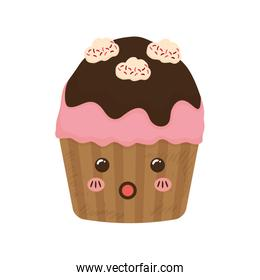 cupcake dessert cute sweet icon. Vector graphic
