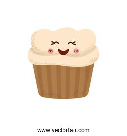 cupcake dessert cute sweet design over white