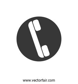 phone call seal stamp button icon.  Vector graphic