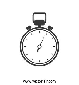 chronometer time silhouette white icon. Vector graphic