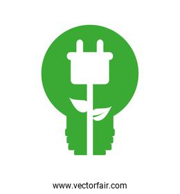 plug energy ecology save icon. Vector graphic