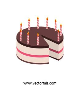 cake candle party cream bakery birthday icon. Vector graphic