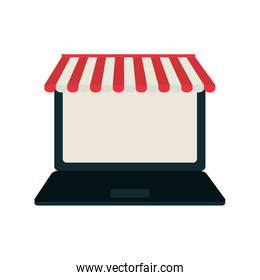 laptop shopping online icon. Vector graphic