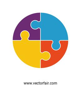 puzzle circle jigsaw game figure icon. Vector graphic