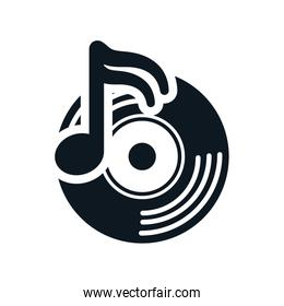 vinyl music note sound dj icon. Vector graphic