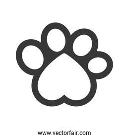foot print heart love pet animal icon. Vector graphic